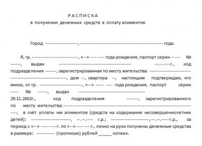 Пример расписки